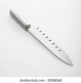 One kitchen knife isolated on white.