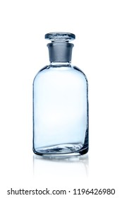one laboratory bottle, photo on white background, isolated