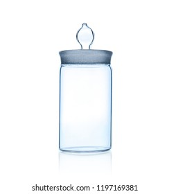 one laboratory glass jar, photo on white background, isolated