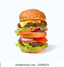 one large double cheeseburger
