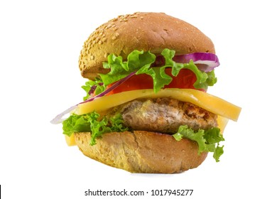 one large juicy cheeseburger close on a white background