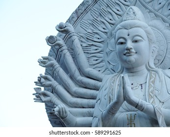 one of large statue buddhism god figure architectural landmark sculpture group at riverside of the golden triangle between THAILAND, LAOS, and BURMA, on THAILAND side