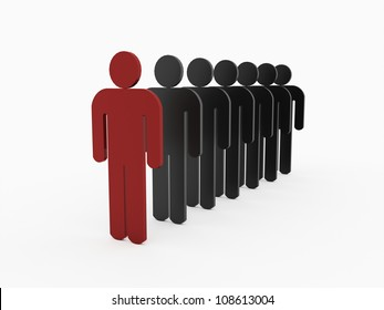 One leader is red isolated