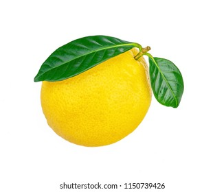 One lemon with  green leaf. With clipping path. Full depth of field. Fresh lemon with green leaves isolated.