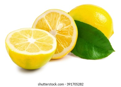 one lemon with leaves and slices on white background