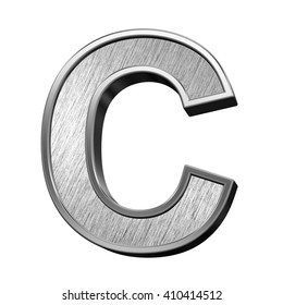 One letter from brushed stainless steel alphabet set, isolated on white. 3D illustration.