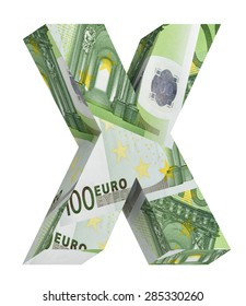 One letter from euro bill alphabet set isolated over white. Computer generated 3D photo rendering.