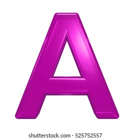 One letter from pink glass alphabet set, isolated on white. 3D illustration.
