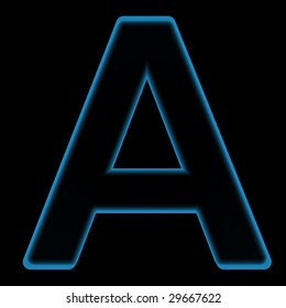 One letter from plasma alphabet set, on the black background. Computer generated 3D photo rendering.