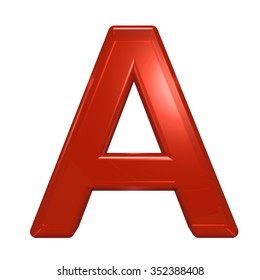 One letter from red glass alphabet set, isolated on white. Computer generated 3D photo rendering.