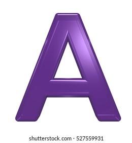 One letter from violet glass alphabet set, isolated on white. 3D illustration.