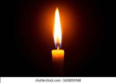 One light candle burning brightly in the black background,Candle, Flame, Candlelight, Dark, Black Background