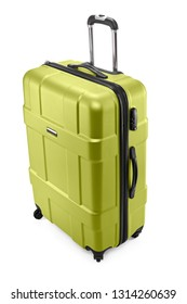 One light green modern travel suitcase with opened handle