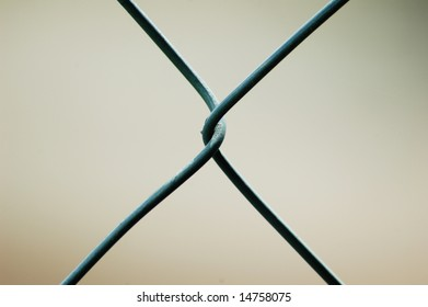 One link in a chain link fence