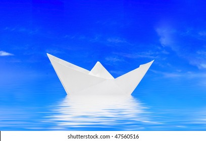 One little ship in water in the sea