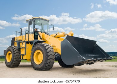 One Loader excavator construction machinery equipment over blue sky
