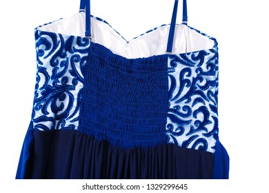 One long evening dress in dark blue on a white isolated background. Stylish fashionable dress