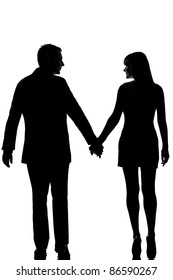 one lovers caucasian couple man and woman walking hand in hand in studio silhouette isolated on white background