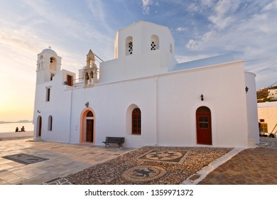 One of the main churches in Plaka village, Milos island, Greece.