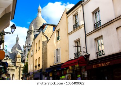 "One of the main streets on the Montmartre hill, leading from the basilica Sacré Coeur to the ""painter's place"", place de Tertre in Paris, France."