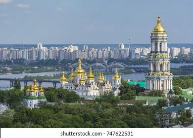 One of the main symbols of Kiev (Kiev) - Kiev-Pechersk Lavra in the afternoon