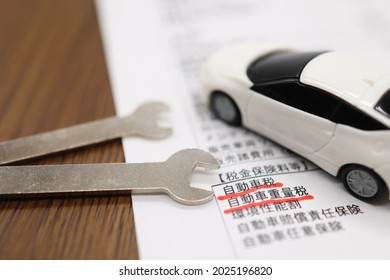 One of the main taxes in Japan. Translation: sales expenses. Taxes. Insurance premiums. Automobile tax. Weight tax. Environmental performance tax. Liability insurance. Voluntary insurance.