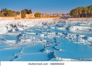 One of the main tourist attractions in Turkey is the travertines and Pamukkale hot springs. Scenic panoramic view on turkish resort