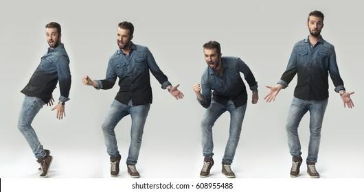 One man 4 times dancing.