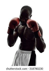 one man boxers boxing on isolated silhouette white background