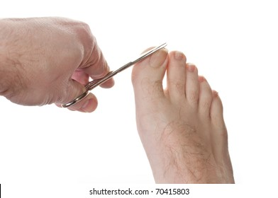 One man cutting toe nails isolated over white background