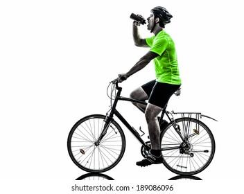 one  man exercising bicycle mountain bike drinking on white background