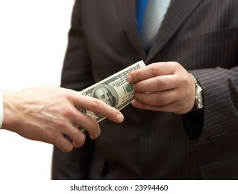 One man hands money to businessman