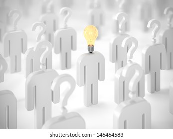One man with lightbulb on his head among people with question marks. Idea concept.