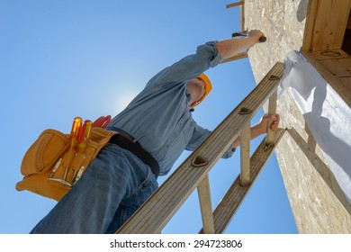 One man on construction site