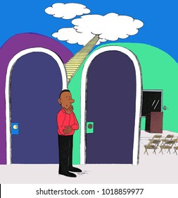 One man standing near two doors deciding between stairs to heaven or a lecture on heaven. One male choosing between going to heaven or a class on heaven.
