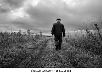 One man walking on the road