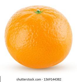 one mandarin isolated on white background orange clipping path