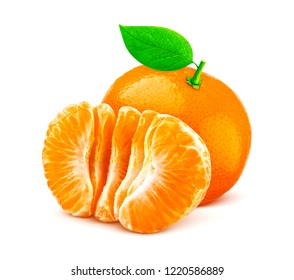 One mandarin or tangerine isolated on white background with clipping path