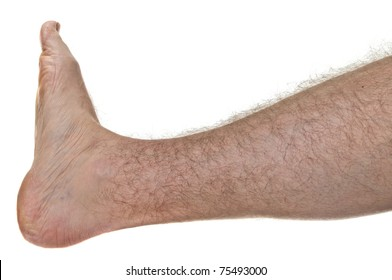 One mans hairy leg isolated on white background