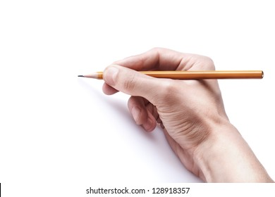 One man's hand with the pencil isolated on white background. free space