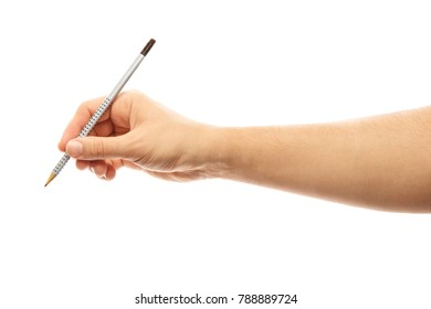 One man's hand with the pencil isolated on white background. Alpha