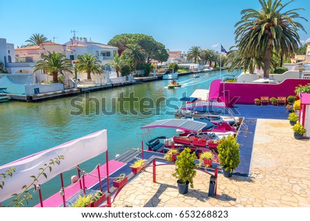 One of many canals in Empuriabrava. Costa Brava, Catalonia, Spain