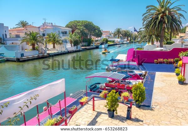 One of many canals in Empuriabrava. Costa Brava, Catalonia, Spain