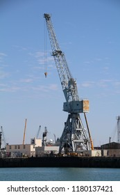 One of the many cranes in Portsmouth dockyard used to service the Royal Navy fleet.
