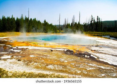 One of many dramatic scenes of jeweled-like colored geysers in Yellowstone National Park, Wyoming this one sits atop a volcanic hot spot.