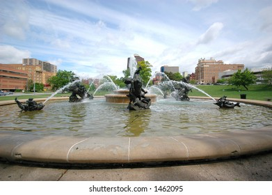 one of many fountains in kansas cities country club plaza