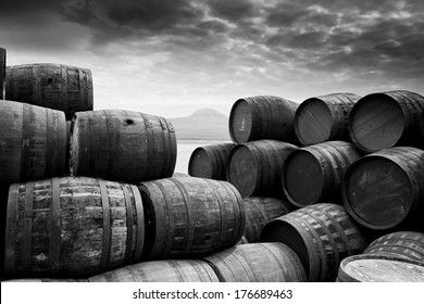 One too many - Image captured at a distillery on Islay as barrels were pilled high outside.