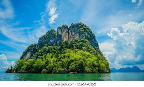 One of the many islands near Hong island in Krabi, Thailand.