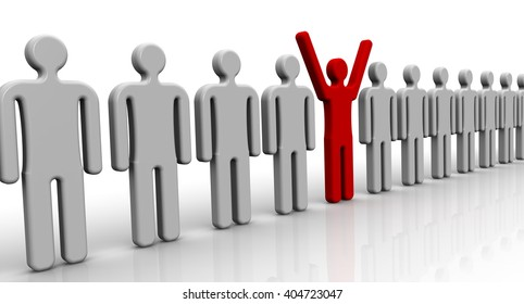 One of many. Symbols of people lined up in a row on a white surface and one red with his hands raised up. 3D Illustration. Isolated