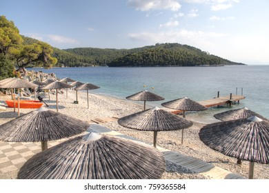 One of the many tropical beaches of Skopelos island in Greece